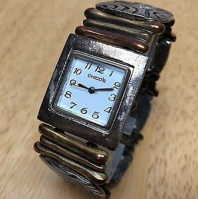 Unique Chico's Lady Roughly Made Dual Tone Analog Quartz Watch Hours~New Battery
