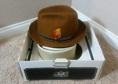23fb16ffb5e1c Vintage Men s Brown Rust Stetson Fedora Hat 3X Beaver size 7 in Original Box