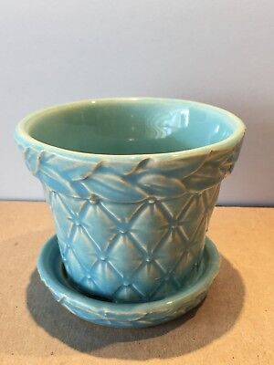 Vintage McCoy Blue Quilt Quilted Leaves Pattern Flower Pot Planter 3 1/4""