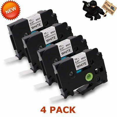 4PK TZeS231 TZ-S231 Black on White Label Tape For Brother P-Touch 12mm US STOCK