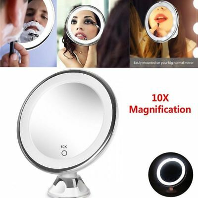 Magnifying 10X Cosmetic Make Up Mirror Suction Cup With LED Light Rooms Shaving