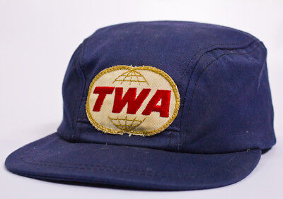Vintage TWA Trans World Airlines Crew Rounded Style Hat With Logo