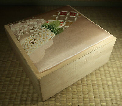 Wooden Box with Cloth Top / Japanese / Vintage