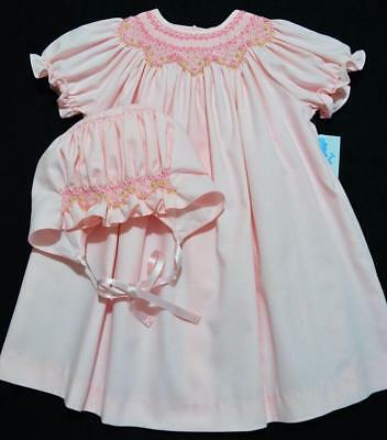 Luli & Me 18M Bishop Smock Pink Baby Dress W/bonnet & Diaper Cover~Nwt's~Easter