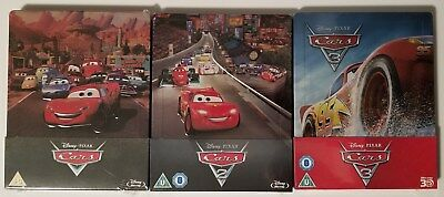 RARE Disney Pixar Cars 1, 2 & 3 3D Blu-Ray Limited Edition Steelbook Set