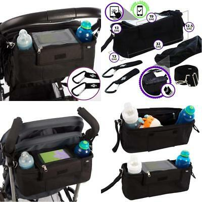 Pushchair Accessories Buggy Pram Bag Organiser With Waterproof Raincover 2  GIFT