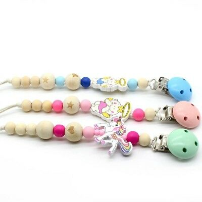 Baby Pacifier Clip Chain Wooden Holder Soother Strap Infant Fairy Unicorn Angel