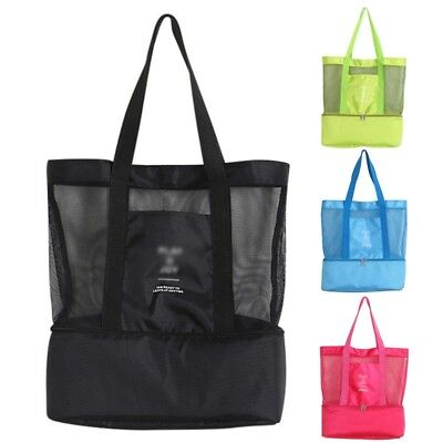 Picnic Bag Double Layer Insulated Thermal Cooler Beach Tote Storage Shoulder Bag