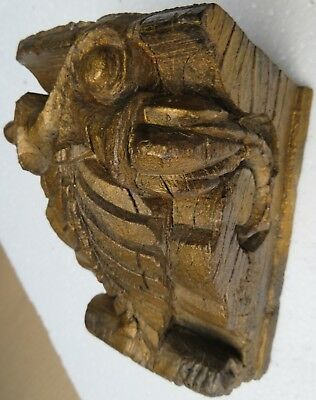 Architectural Carved Wood remanent reclaimed decor aged structure wall fix 1900