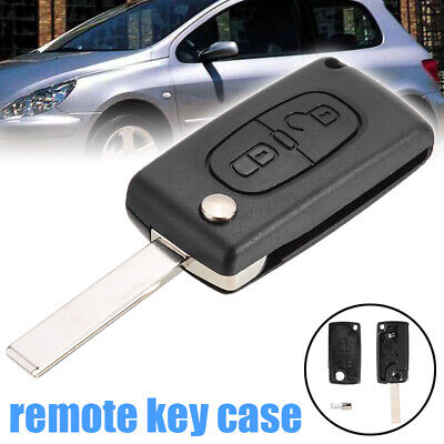 2 Button Flip Remote Key Fob Shell Case Fit for PEUGEOT 307 308 407 408 207