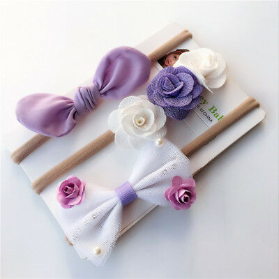 3PCS Kids Girl Elastic Floral Headband Hair Baby Bowknot Hairband Headdress F
