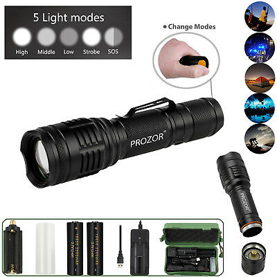 Tactical Light 50000LM Power T6 LED Flashlight Zoomable Torch+18650+Charger UK