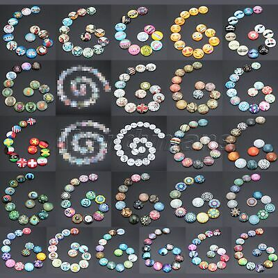 UK STOCK Necklaces Craft DIY Glass Cabochon 10PCS 25mm Round Flatback 26 Pattern