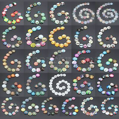 UK STOCK Necklaces Craft DIY Glass Cabochon 10PCS 20mm Round Flatback 26 Pattern