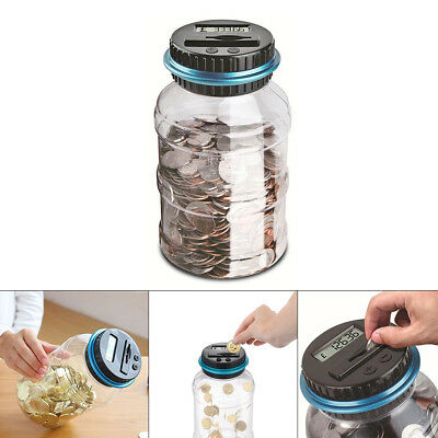 Electronic LCD Coin Money Counting Jar Box Saving Digital Piggy Bank Gift Smart