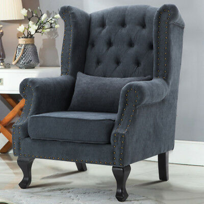 Winged Design Fabric Fireside Armchair Occasional Sofa Lounge Chairs with Pillow