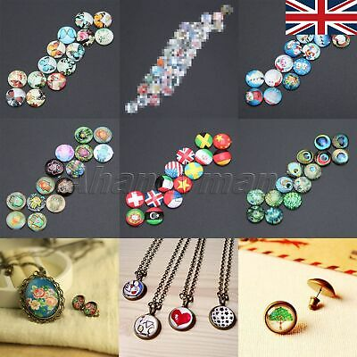 UK STOCK Necklace Craft Glass Cabochon 12mm Round Flatback 26 Pattern 10/50pcs