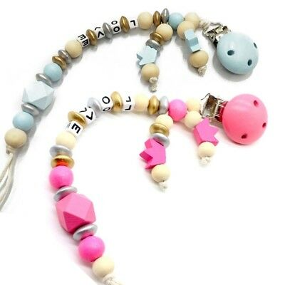 Baby worm Pacifier Chain Soother Feeding Teether Chew Clip Holder Wooden Bead