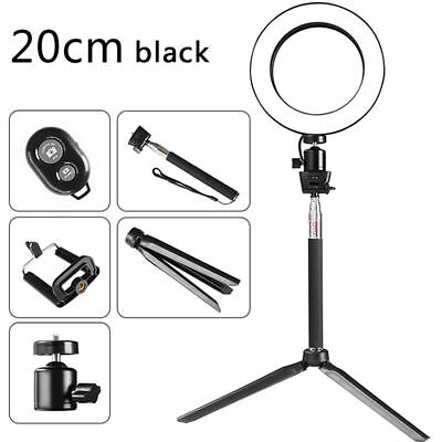 "8"" LED Ring Light with Stand 5500K Dimmable Lighting Kit For Makeup Youtube Live"
