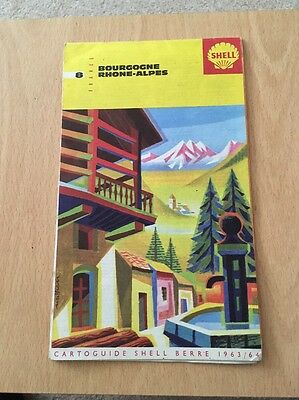 Old Shell Road Map Bourgogne Rhone-Alps France 1963/64