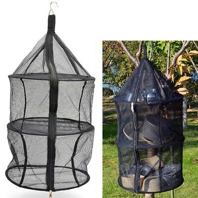 Clothes Hanging Dryer Net Drying Rack 3 Layers Nylon Zipper For Outdoor Camping