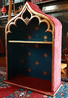 Victorian Gothic style velvet & gold leaf hanging cabinet with shelf - Film prop