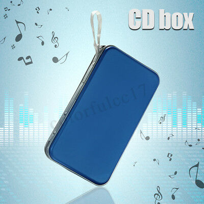 80 Disc CD DVD Wallet Storage Organizer Case Holder Plastic Bag Sleeve Blue UK