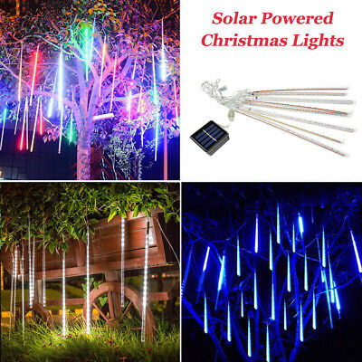 Solar Powered Christmas Lights.Solar Powered Meteor Shower Rain Drop Icicle Lights String For Outdoor Christmas