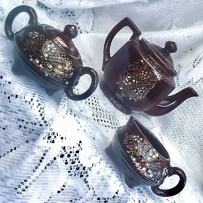Vintage Brown Teapot Creamer Sugar Bowl Moriage Japan~Hand Painted Gold Floral