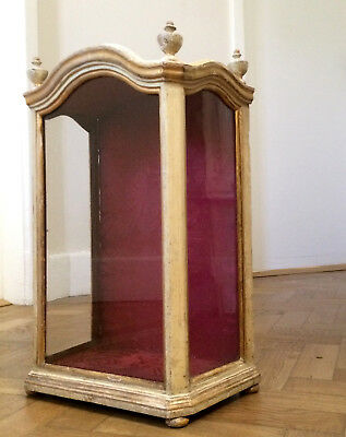 Antique French Victorian Glass Display Case Cabinet Taxidermy Religious Vitrine