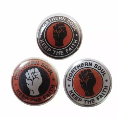 In colours of Dundee United - Northern Soul 25mm Button Badges x 3.
