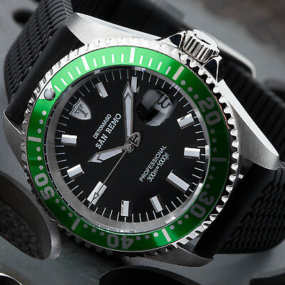 DETOMASO SAN REMO Mens Diving Watch Stainless Steel Black Green Automatic New