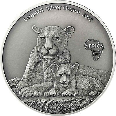 Leopard Silver Ounce 2018 Cameroon 1000 Francs Antique Finish Coin