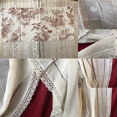 """Beautiful Vintage French Muslin Voile Cluny Lace  Curtain 120""""/55"""" Reworking"""