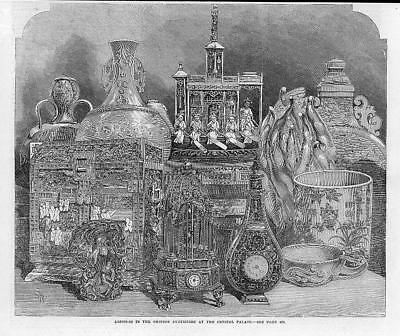 1865 Antique Print -  LONDON Crystal Palace Chinese Exhibition Clocks   (145)