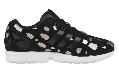 reputable site 559e0 ed1a1 ADIDAS ORIGINALS ZX Flux Women's Trainers Black Rose Gold Suede UK 5 US 6.5