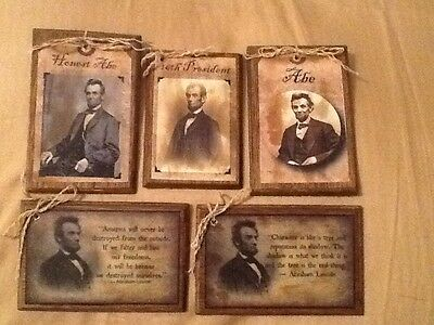 5 ABE LINCOLN Handcrafted Wood Ornaments/Hang Tags  Set0l