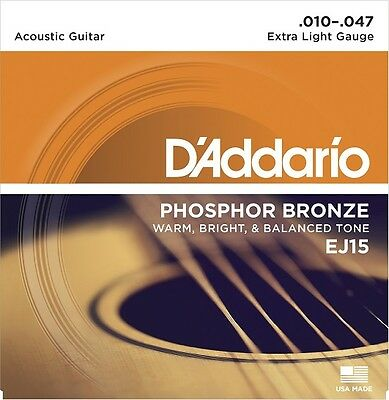 D'Addario EJ15 Phosphor Bronze Acoustic Guitar Strings, Extra Light Gauge 10-47.