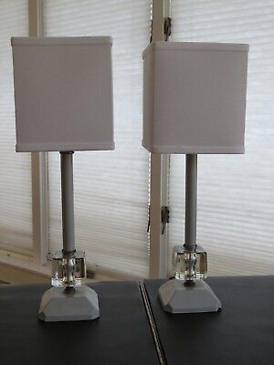Vintage Mid Century Modern Pair 9 Inch Blue Square Lamps, New Shades