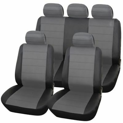 BMW E46 (3 Series) Convertible ALL YEARS URBAN GREY/BLK LEATHER SEAT COVERS FOR