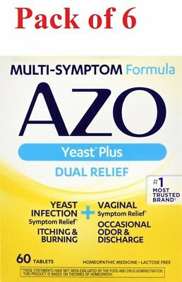 AZO Yeast Plus Dual Relief Multi-Symptom Formula Tablets 60 ct (Pack of 6)