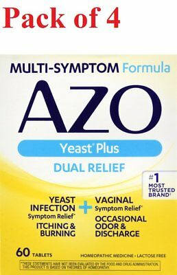 AZO Yeast Plus Dual Relief Multi-Symptom Formula Tablets 60 ct (Pack of 4)