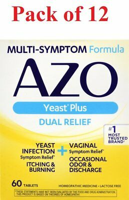 AZO Yeast Plus Dual Relief Multi-Symptom Formula Tablets 60 ct (Pack of 12)