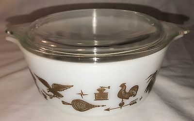 VTG PYREX AMERICANA BROWN ROOSTER MIXING BOWL WITH LID 1 PT Nesting