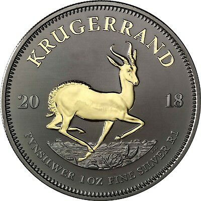 Special Krugerrand 2018 South Africa 1 Rand Silver Coin ruthenium Edition