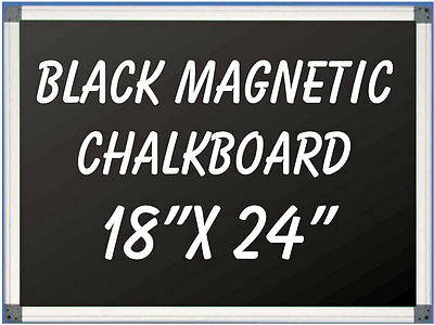 """Chalkboard Sign Menu With Tray Black 18"""" x 24"""" Aluminum Framed  Magnetic"""
