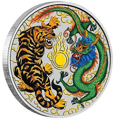 Dragon and Tiger 2018 Australian 1 Dollar beautiful Silver Coin coloured