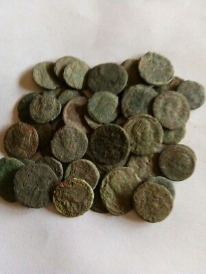 026.Lot of 46 Ancient Roman Bronze Coins,Uncleaned