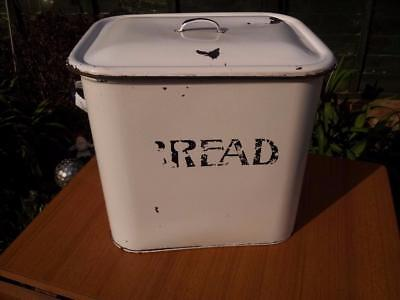 Large Vintage White Enamel Bread Bin Great Shabby Chic Retro Item