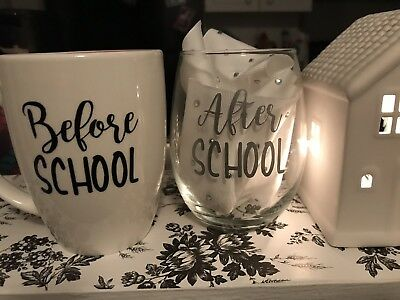 Teacher Gift Mug Before  School And  Wine Glass After School Set